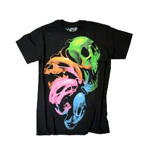 Liquid Blue Neon Skulls T-Shirt