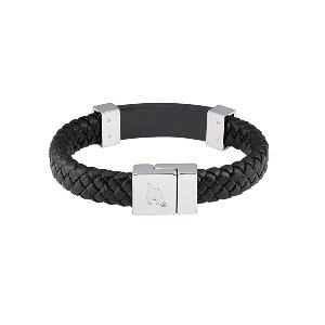 Steel Braided Leather Bracelet