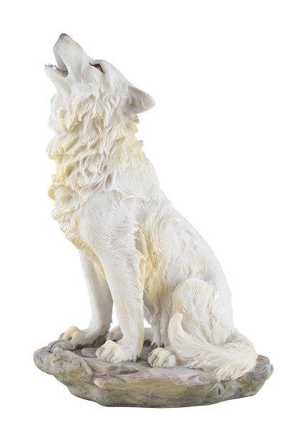 Sitzender Weisser Wolf