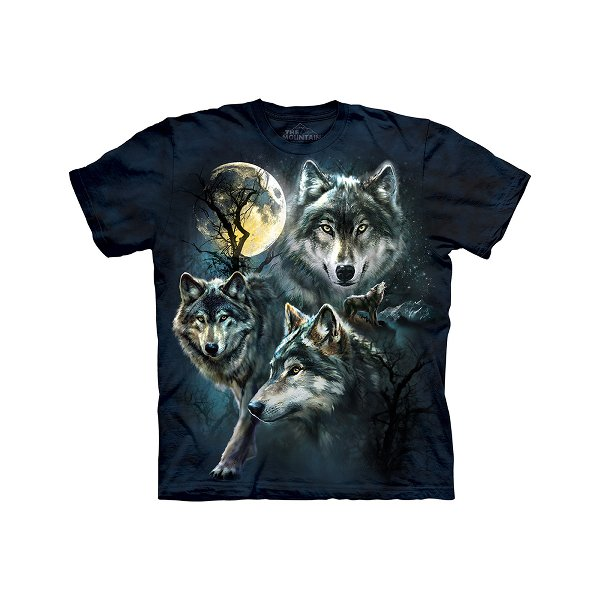 Moon Wolves Collage Adult T-Shirt