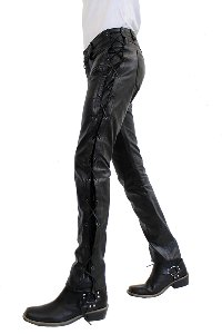 Leather pants Cow Waxy geschnürt bl.
