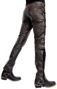 Leather pants Cow Waxy geschnürt br.